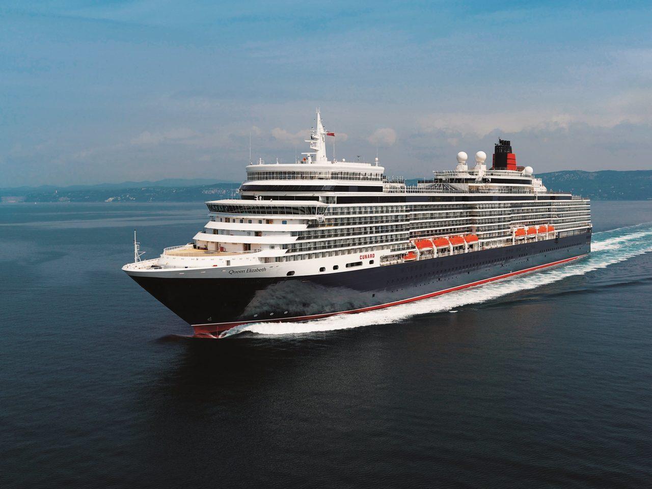 Queen Elizabeth Cunard Najdete Svoji Lod Snu Plavby Lodi Po Celem
